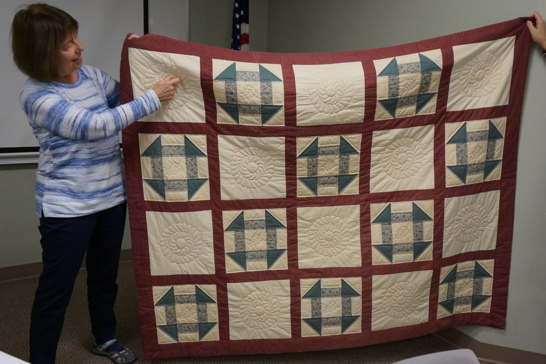 - Denise made this quilt during a class she took in Bristol in the 1980s. She didn't realize she was supposed to finish the whole top before layering and quilting the blocks, so she had to do some creative sewing to put the quilt together.