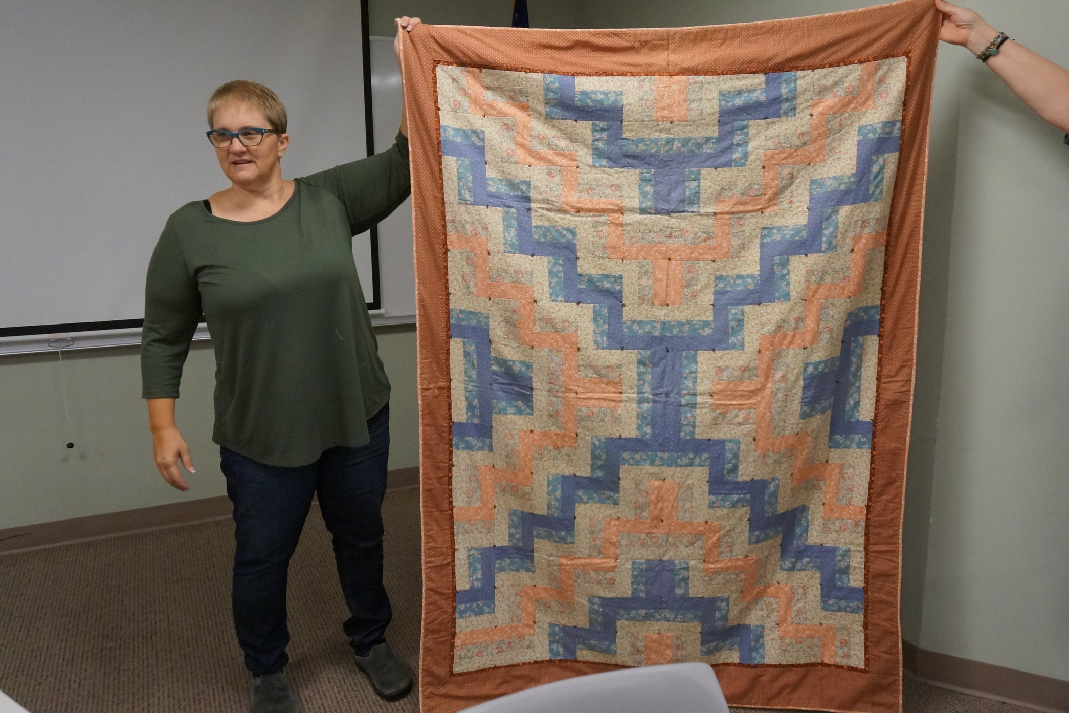 - Kathy first made a quilt as a teenager, and since her father was a doctor, she used old X-ray films as template material. She made the quilt above when she was newly married in 1987.