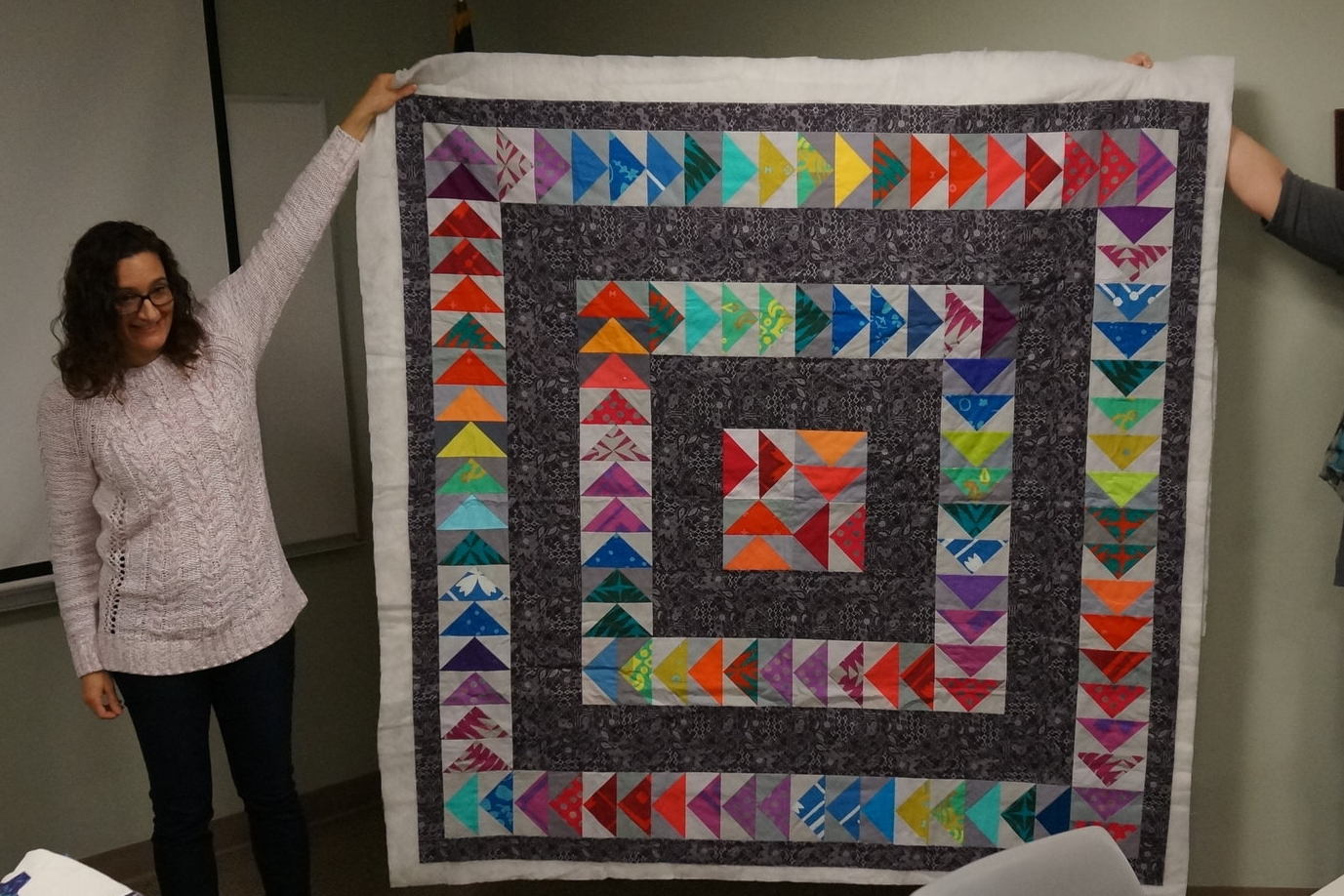 - Leslie's latest quilt (still unfinished!) was a result of the guild's flying geese block swap.