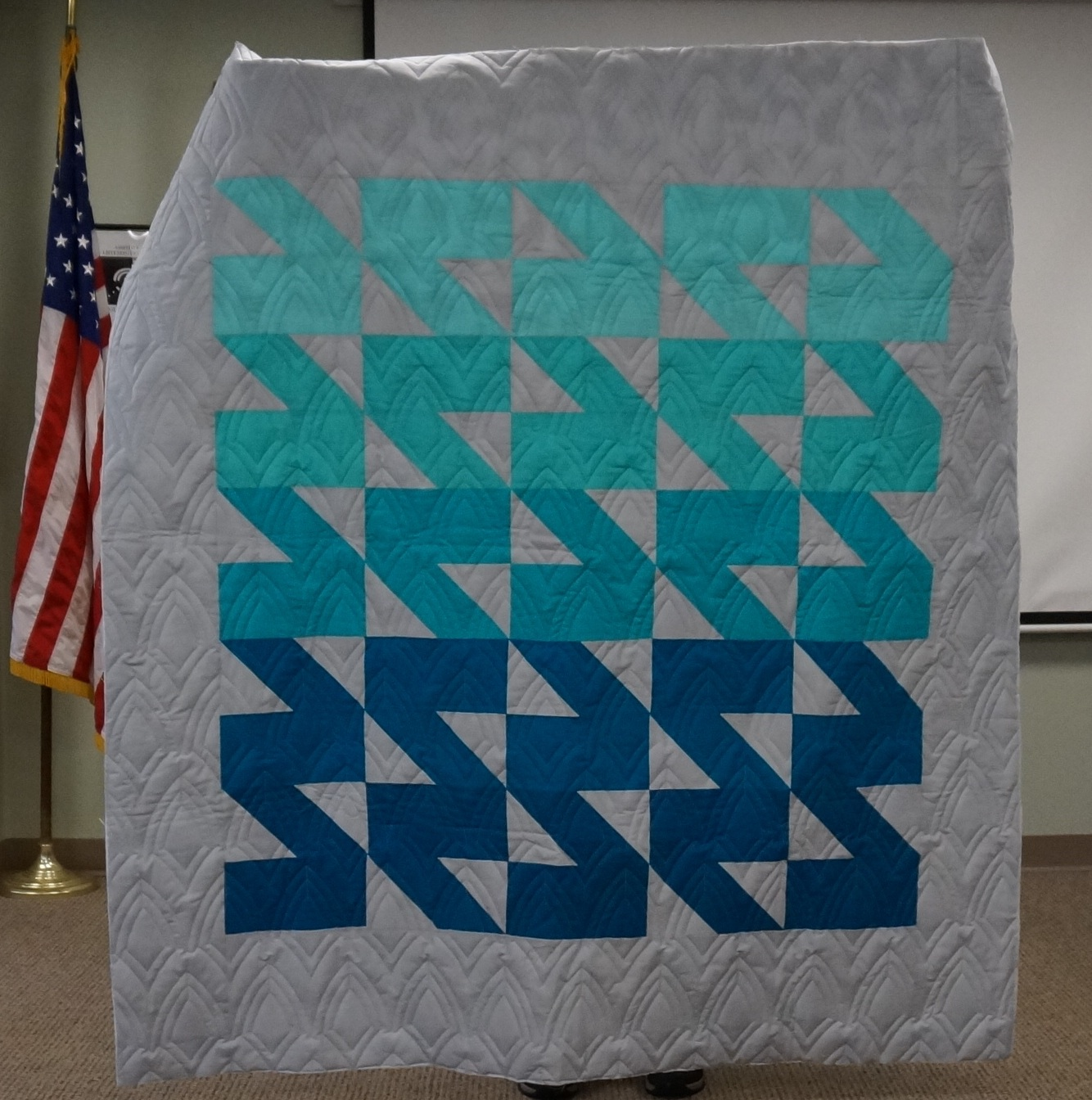 Kathy finished the quilting on this quilt for her son's girlfriend.