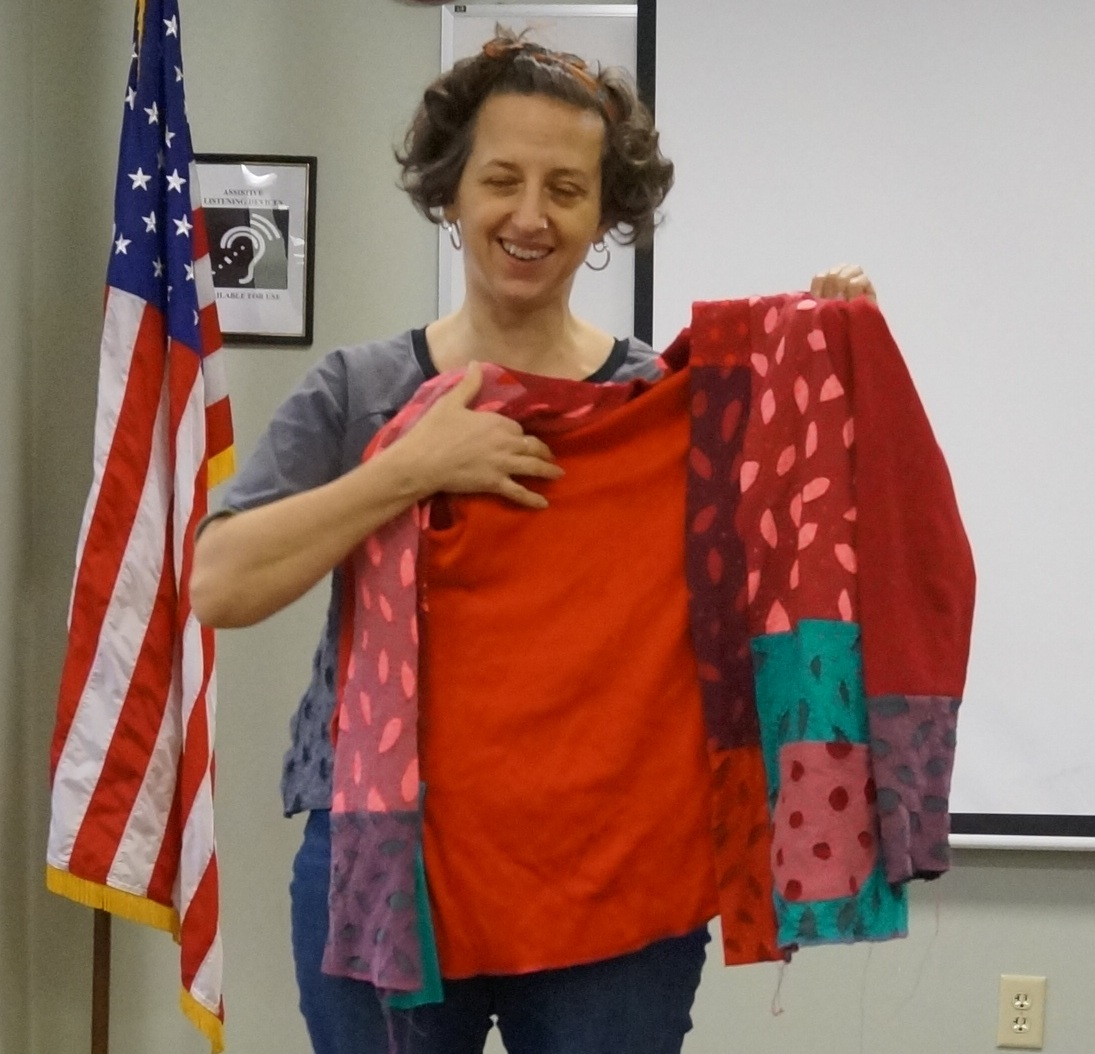 Melissa is working on a cardigan made from old T-shirts with Alabama Chanin-style applique. The pattern is the Blackwood Cardigan by Helen's Closet.