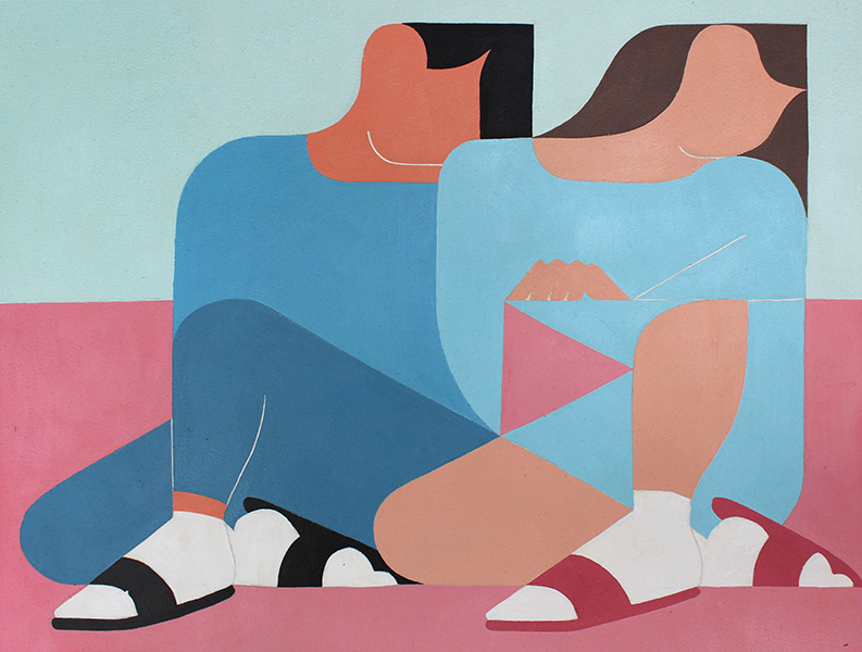 A Shoulder To Lean On (Pink and Blue)