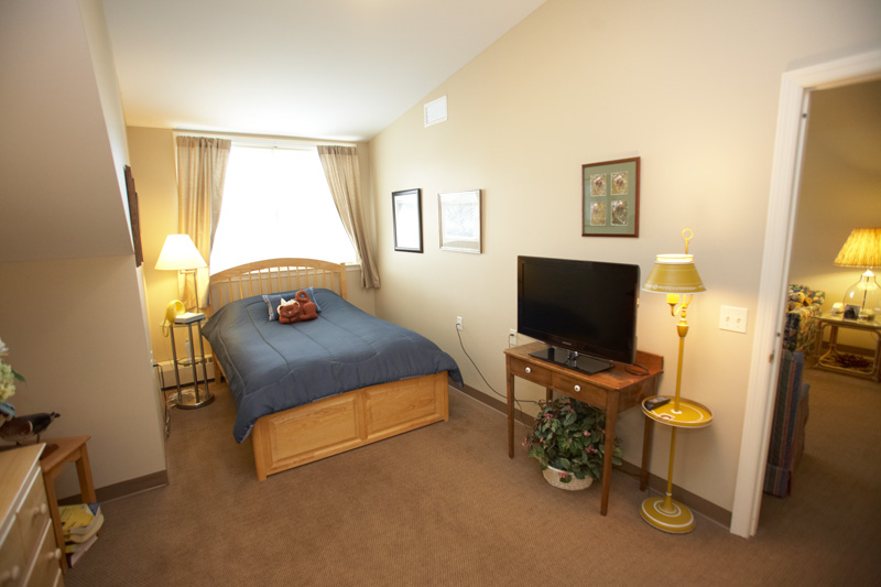 one bedroom suite* - Living room, kitchen with fridge and stove, full bathroom