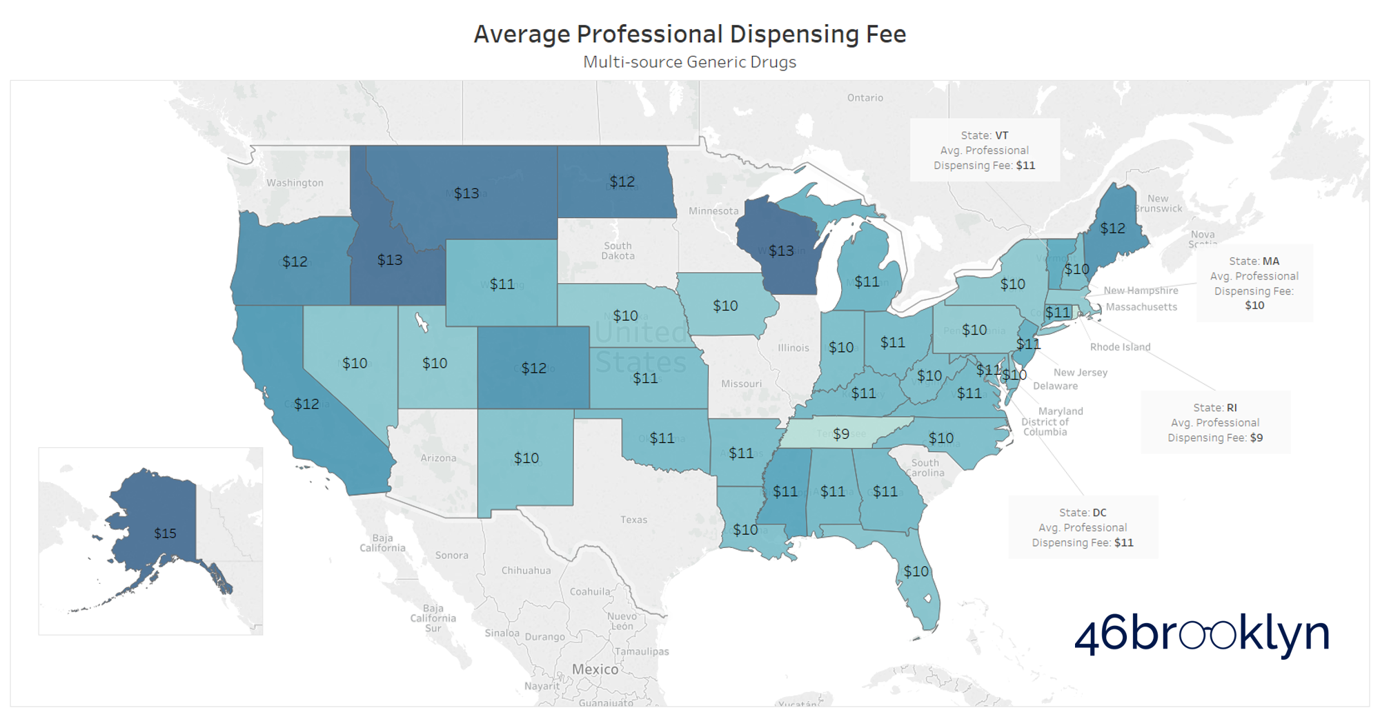 Figure 3   Source: Medicaid.gov; 46brooklyn Research    Note : Some states have set a tiered dispensing fee based on pharmacy size. This map averages all tiers for each state, and rounds the average to the nearest dollar. All dispensing fees on a per prescription basis.