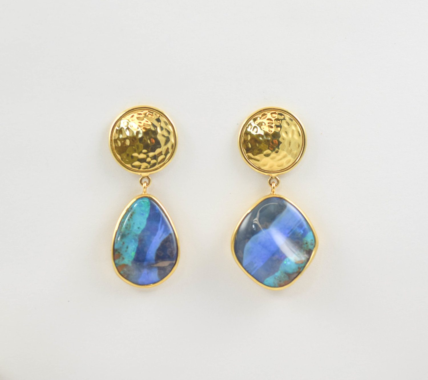 14k Yellow Gold Australian Opal Earrings The Jewelbox