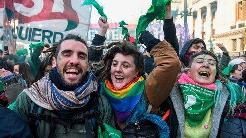Radical Youth celebrating abortion being legalised in Argentina