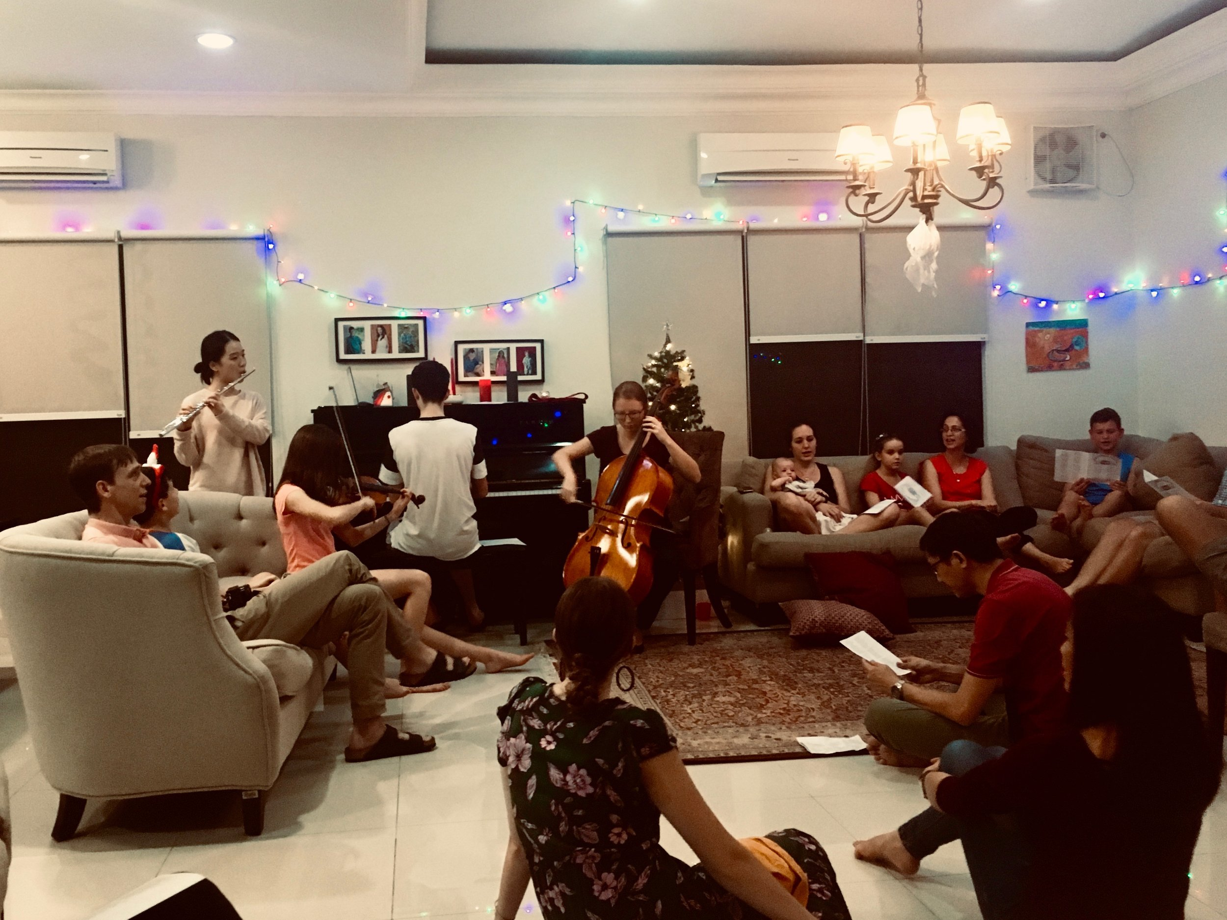 Caroling at our most recent expat gathering.