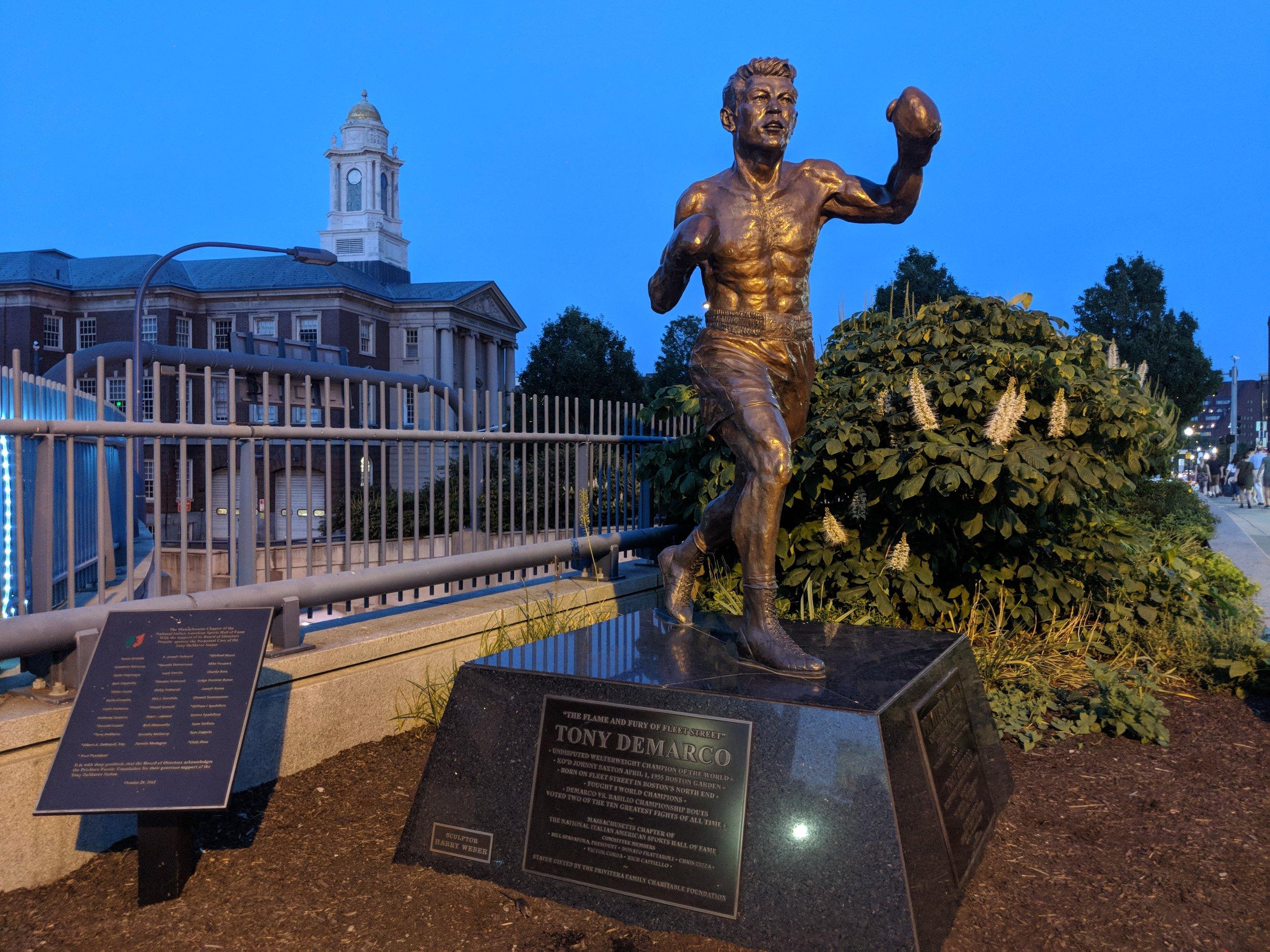 Tony DeMarco Boxer Statue - 191 Hanover Street, Boston, MA 02113 - Tour Start Point