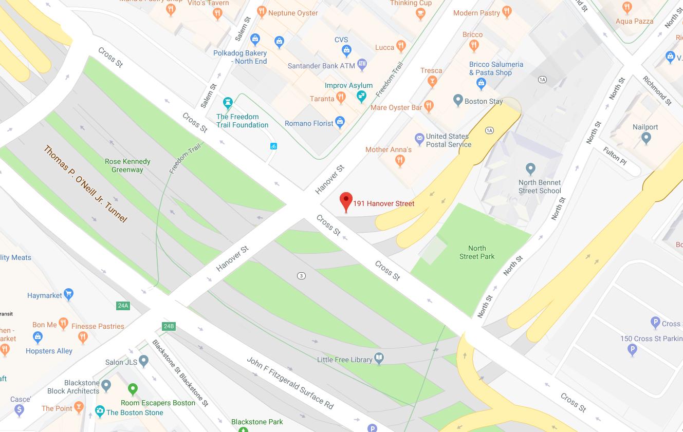 191 Hanover Street, Boston, MA 02113 - Tony DeMarco Boxer Statue - Tour Start Point