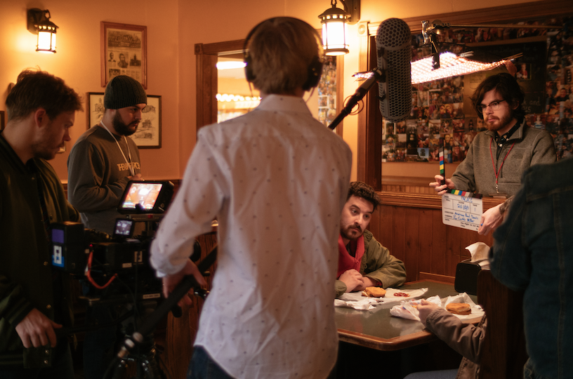 On set of Palace in Upland, Indiana