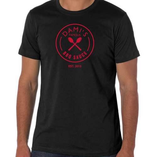 DAMI'S FAMOUS BBQ SAUCE T-SHIRT $17.99 - Black unisex shirt with Dami's Famous BBQ sauce logo on the front. Standard 100% cotton.