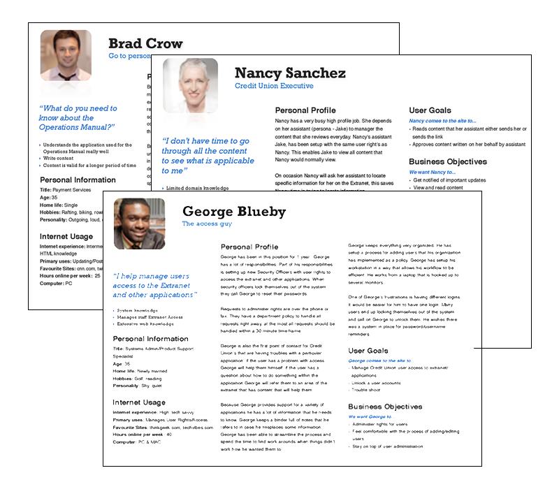Persona Development - SKILLS: UX, UX ResearchTen persona's researched and developed for a company intranet project.
