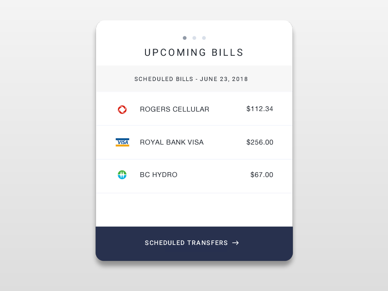 Payment Widget - SKILLS: UX Research, Wireframes, UI DesignDesign of a bill payment widget for online banking.