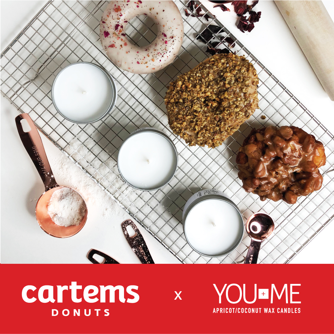 Marketing Ad - Skills: Creative Direction, Design, PhotographyPhotography and marketing ad for collaboration with Cartems Donuts and You + Me Candles