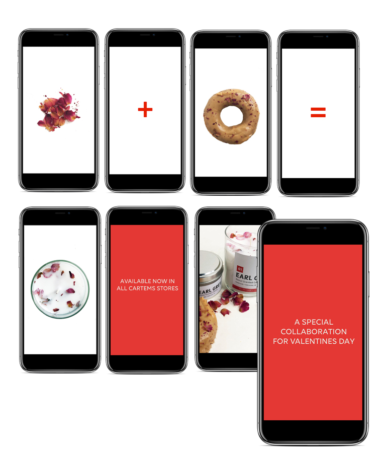 Instagram Campaign - Skills: Creative Direction, Design, PhotographySocial media campaign to support Valentines Day collaboration between Cartems Donuts and You + Me Candles.Glass Earl Grey candle using rose petals from Cartem's popular Earl Grey Donut.