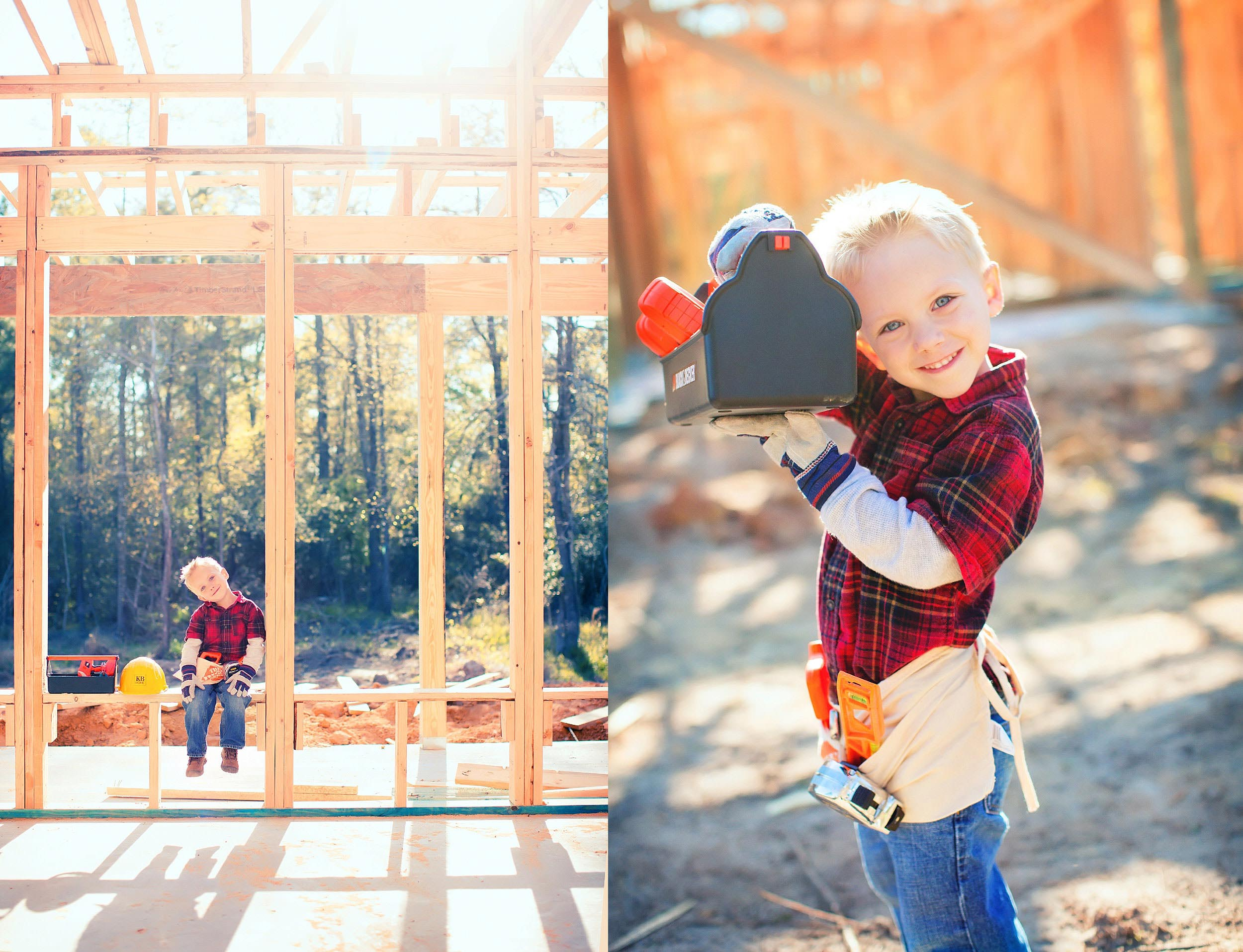 Photograph of little boy dressed as construction worker in framed house in The Woodlands, Texas.