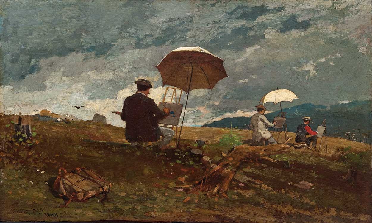 Artists Sketching in the White Mountains by Winslow Homer, 1868, oil painting.