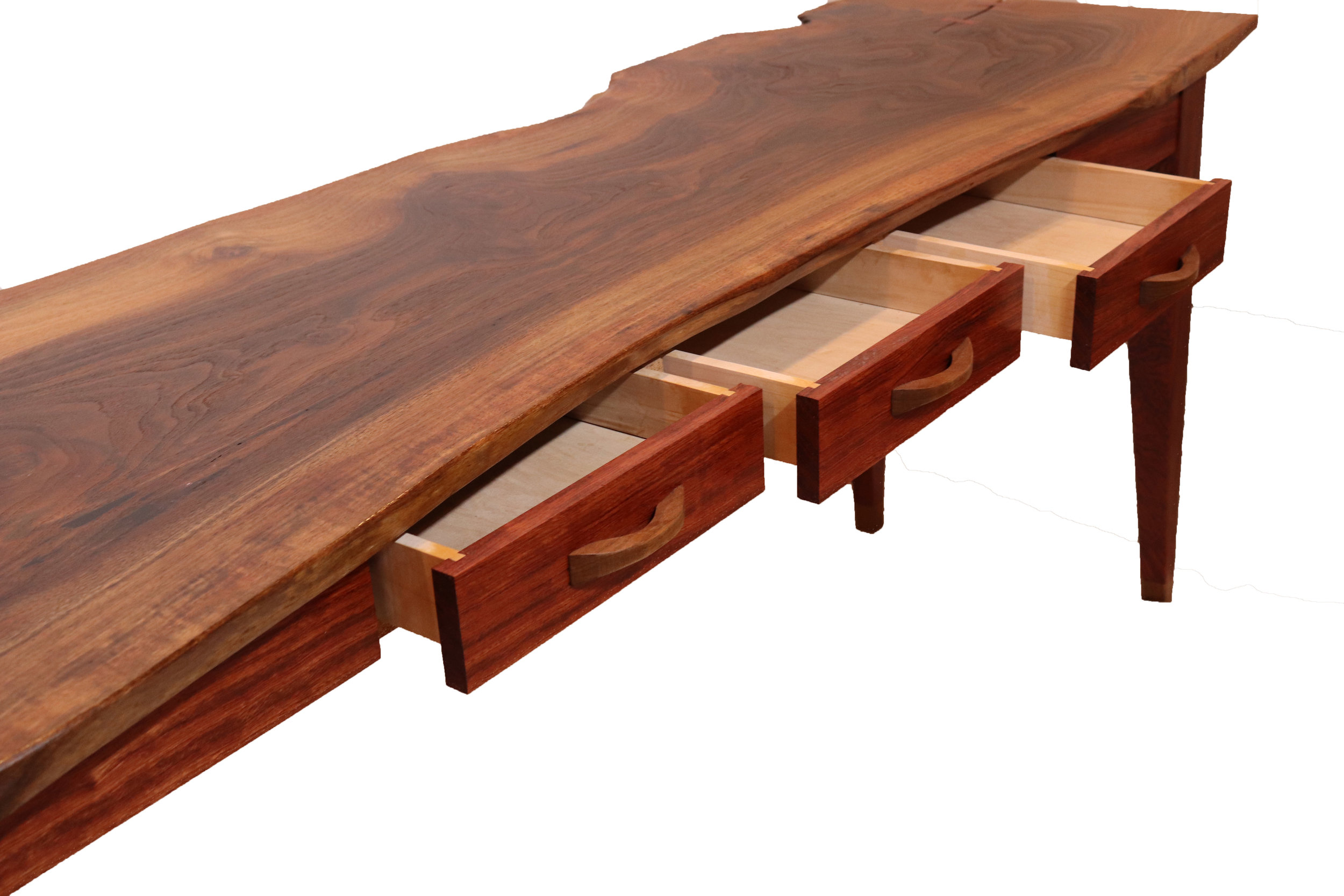 Claro walnut and bubinga desk