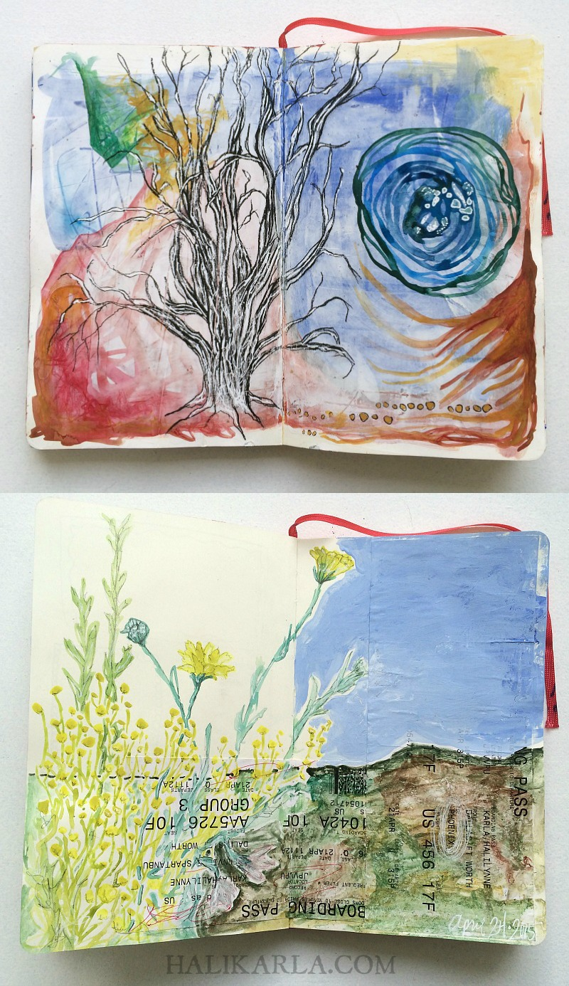 visual journal art while traveling, Hali Karla