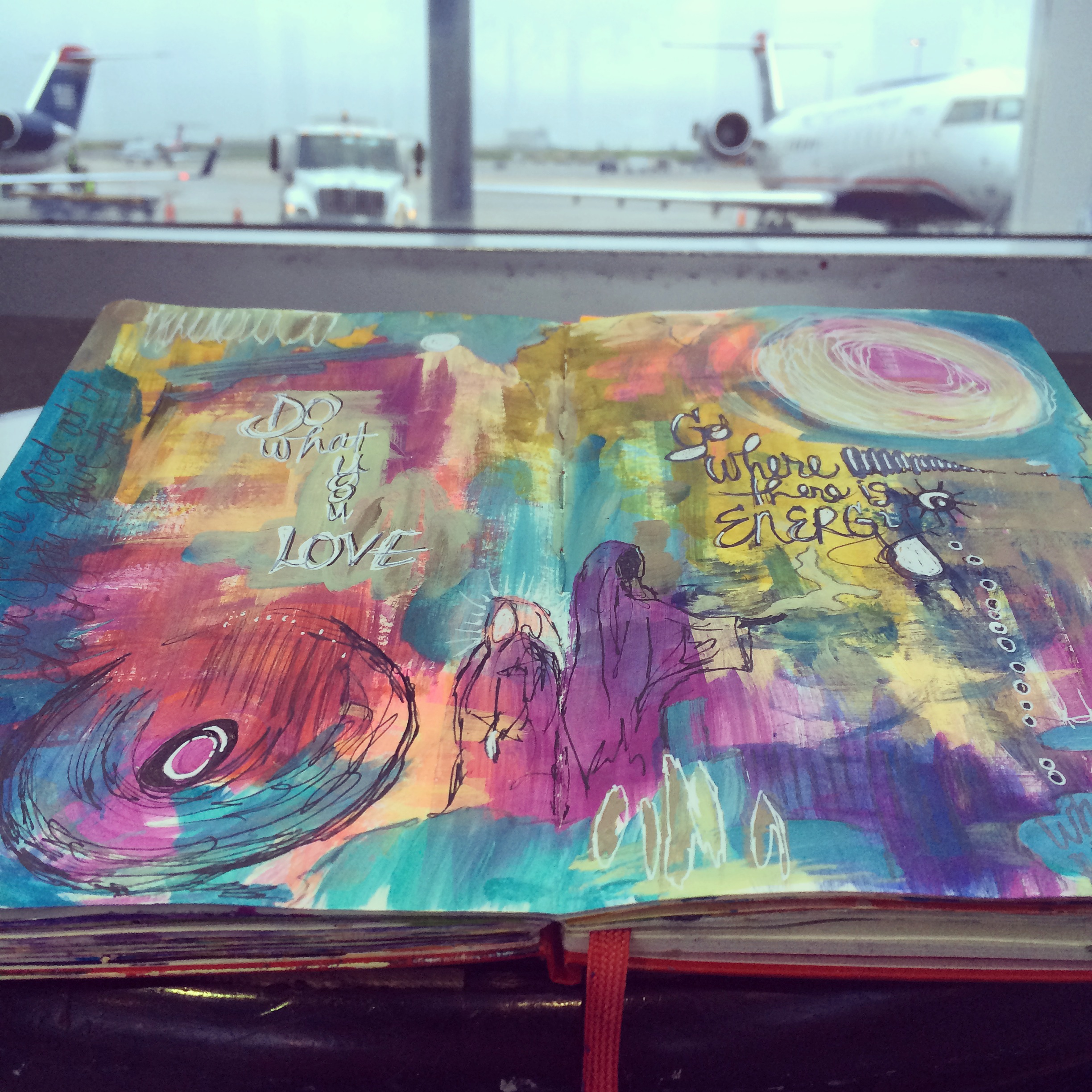 art journaling in the airport