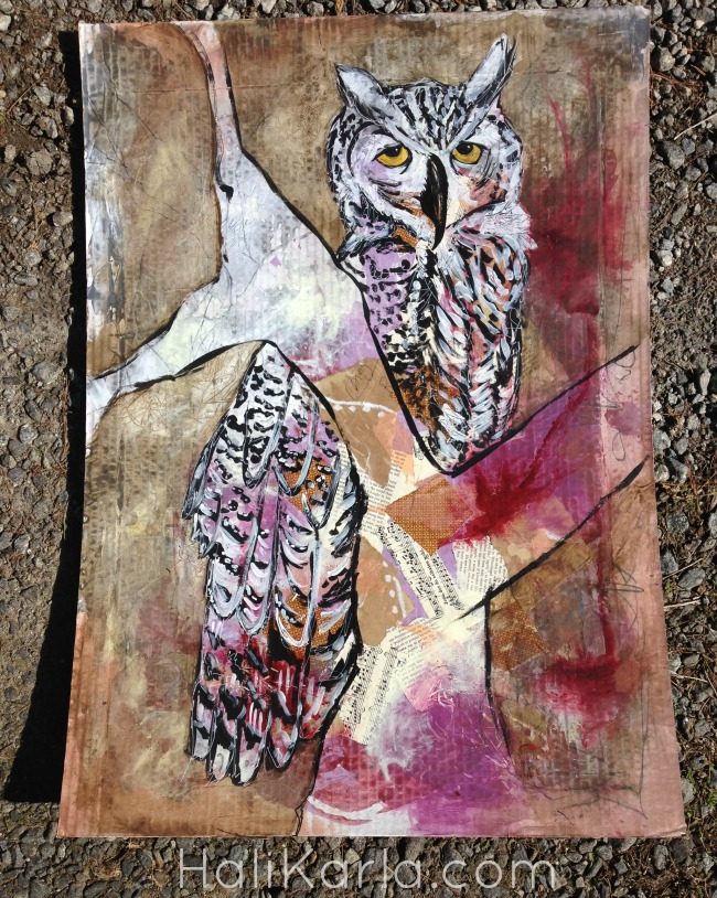 "Owl. Mixed-media on cardboard. approx 24""x36"""
