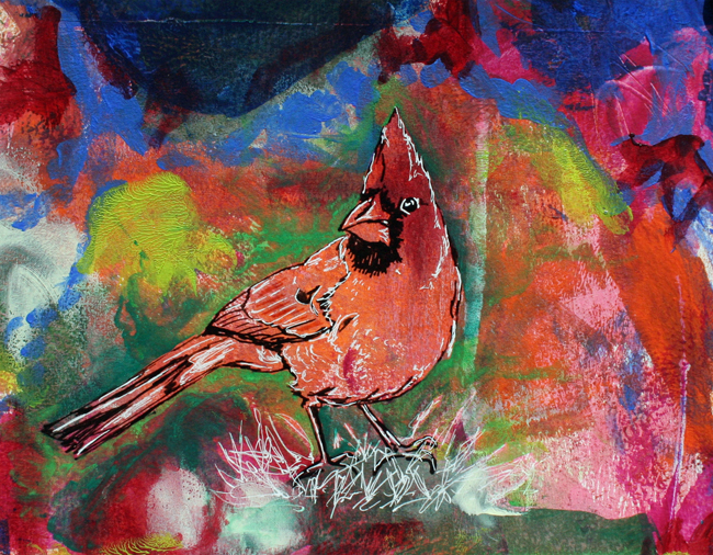 Cardinal. Mixed-media on paper.