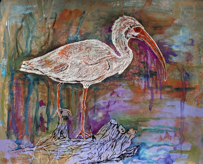 "Ibis. Mixed-media on paper. 11""x14"""
