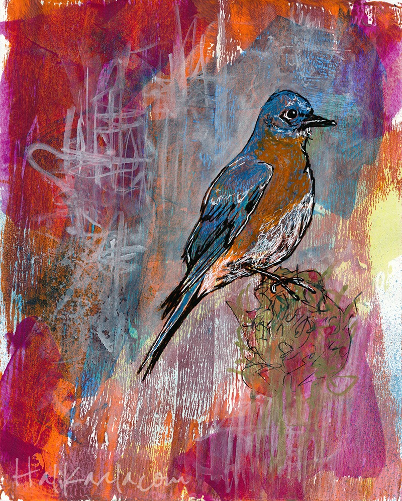 Bluebird. Mixed-media on paper. SOLD.