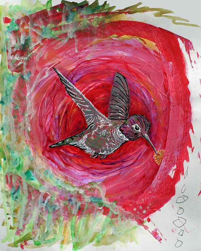 Hummingbird. Mixed-media on paper. SOLD