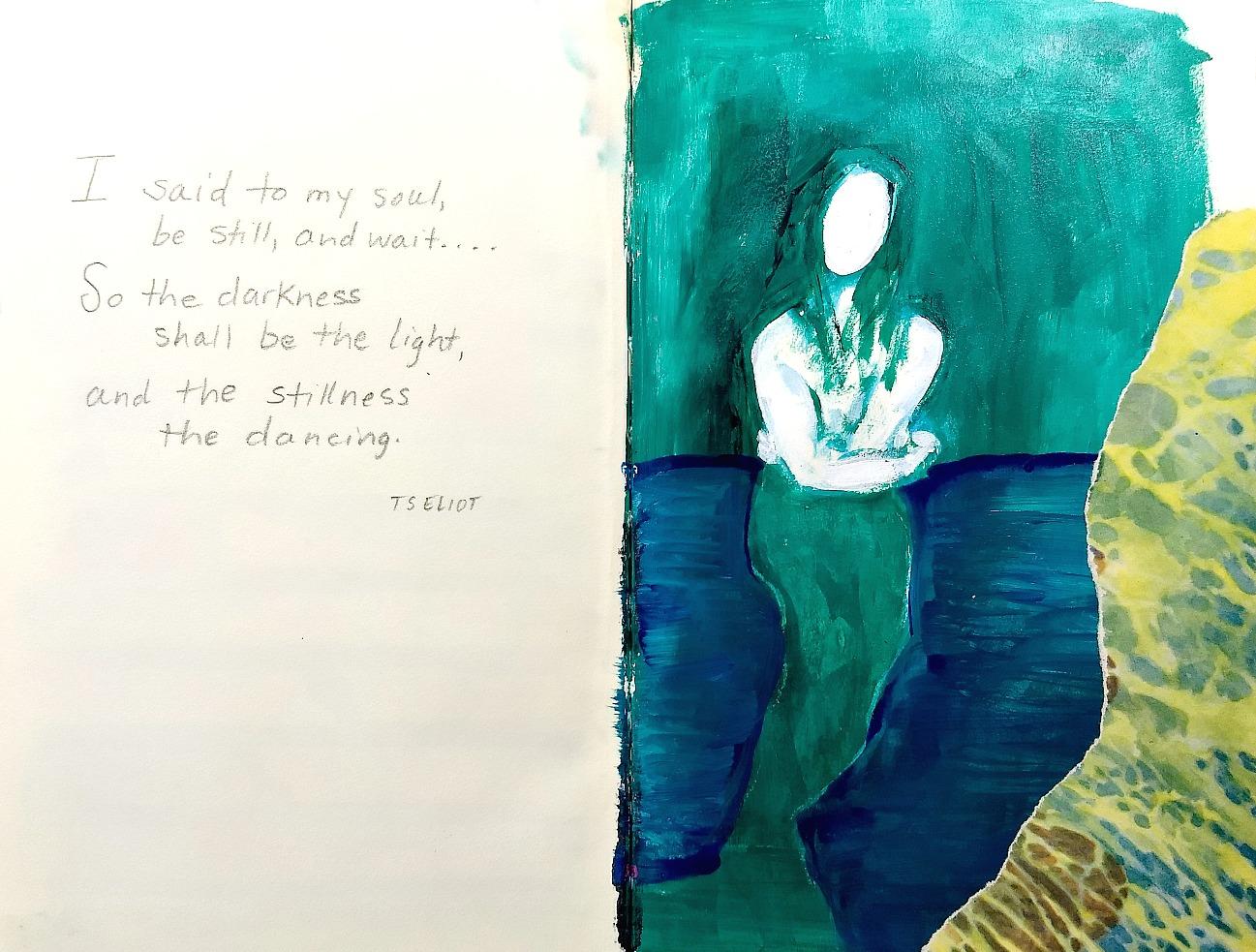 mermaid paint-sketch art journal page