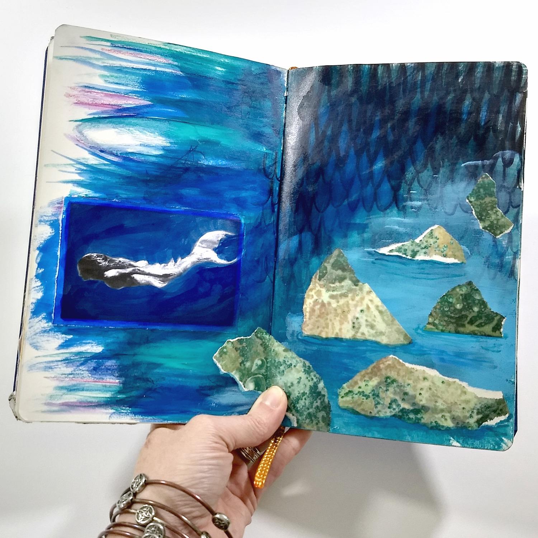 mermaid swimming, art journal paint-sketch
