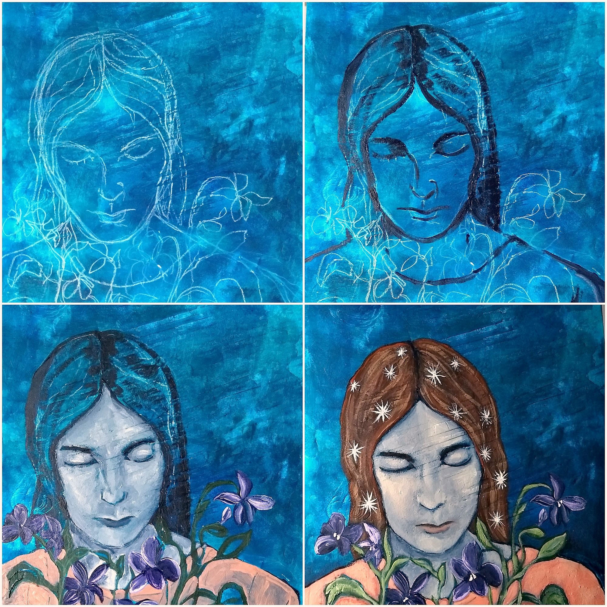 mixed-media painting on panel, in-process, by Hali Karla