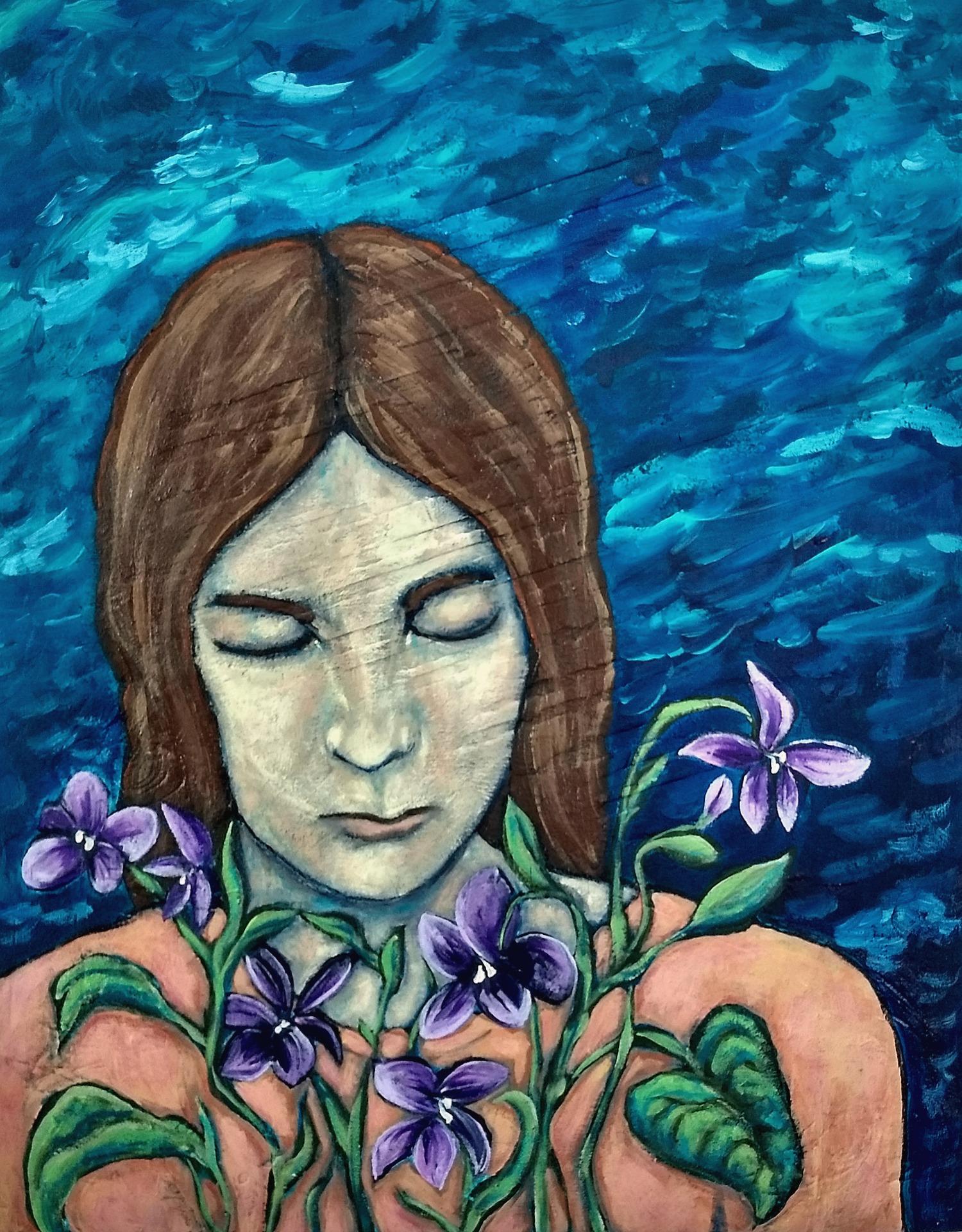 mixed-media portrait on panel by Hali Karla