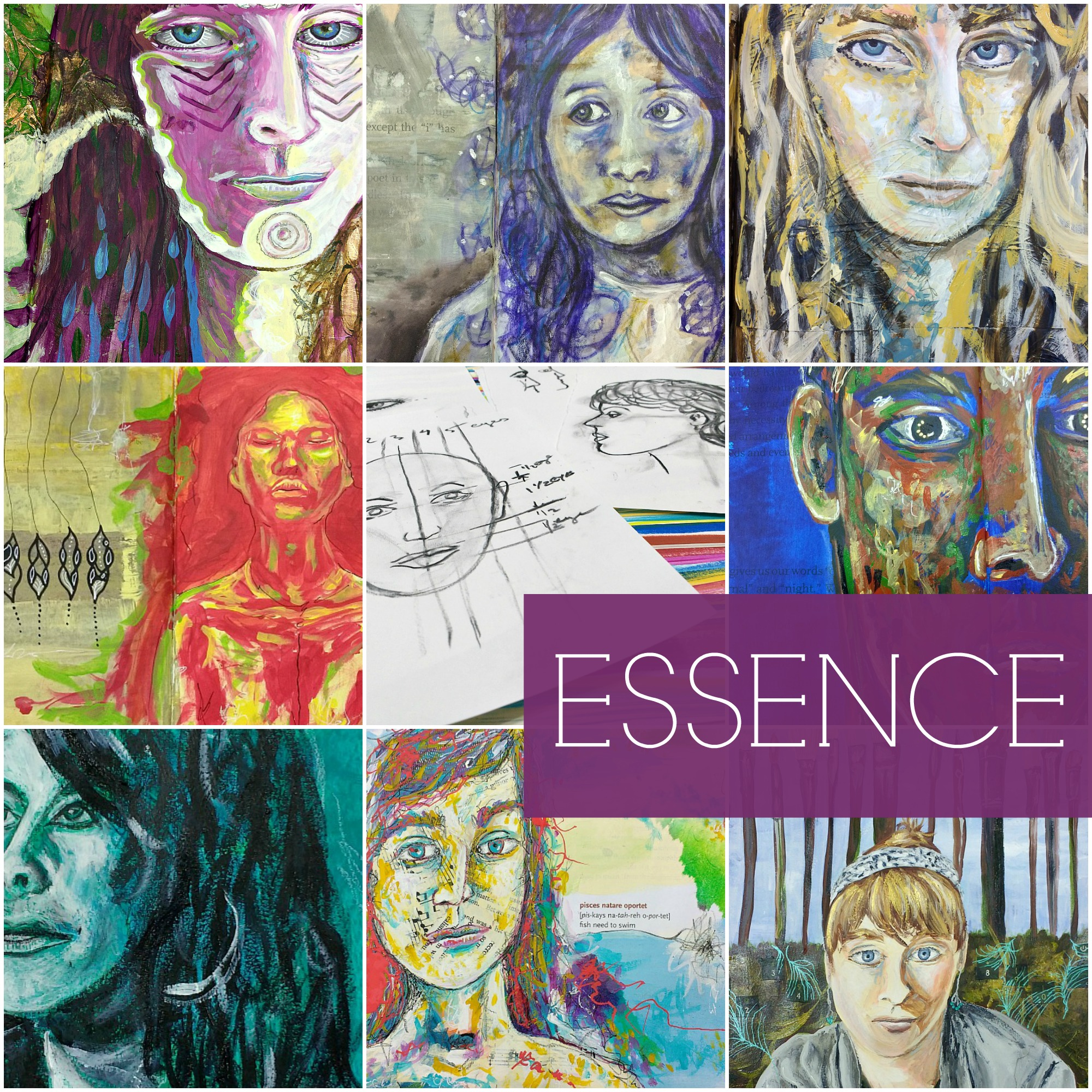 ESSENCE - self-guided Creative Practice ecourse on mixed-media portraits with feeling. Hali Karla Arts