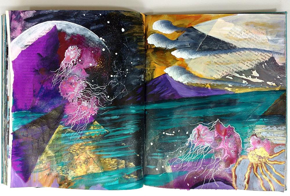 mixed-media altered book art journal spread, Hali Karla