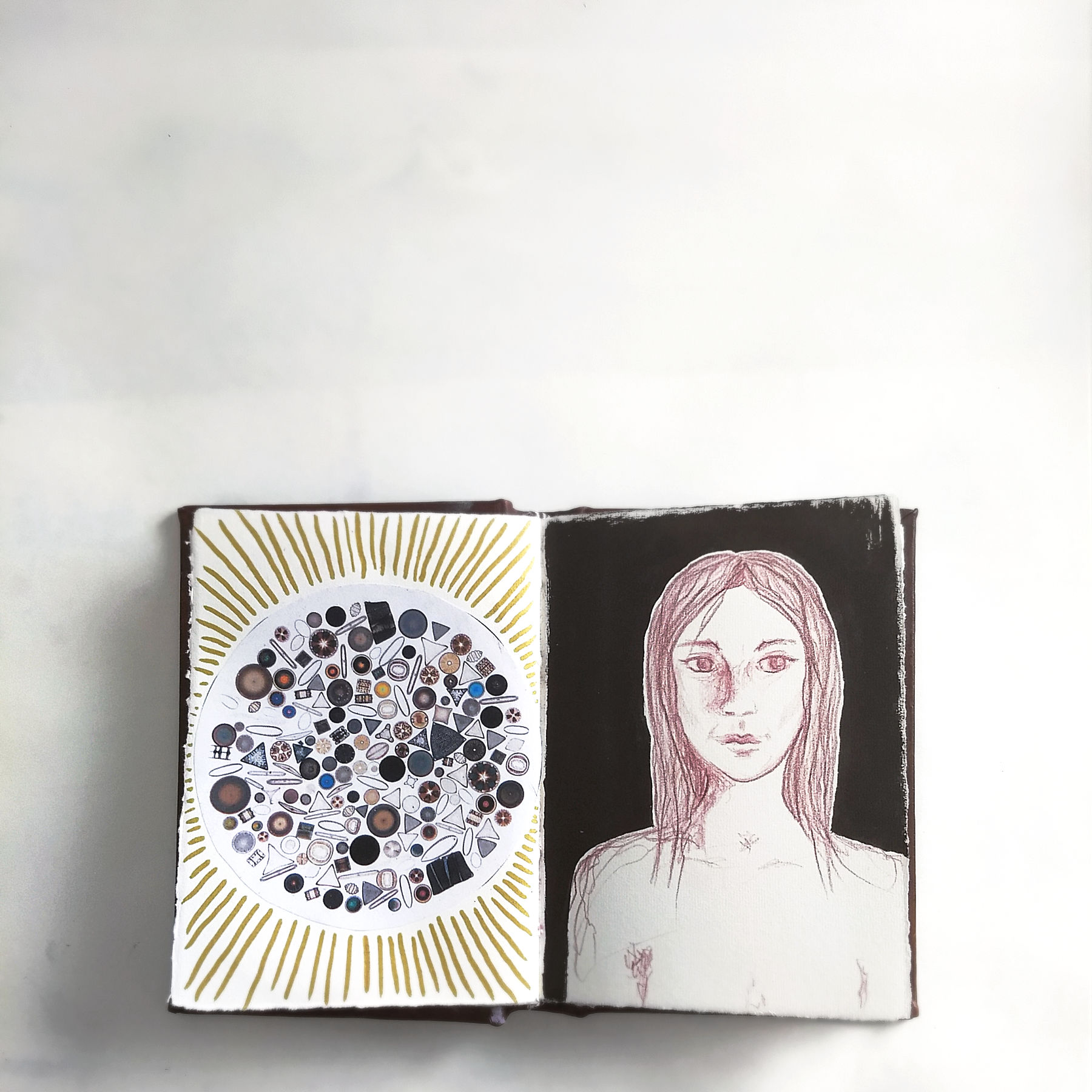 diatom and portrait, art journal page, Hali Karla Arts