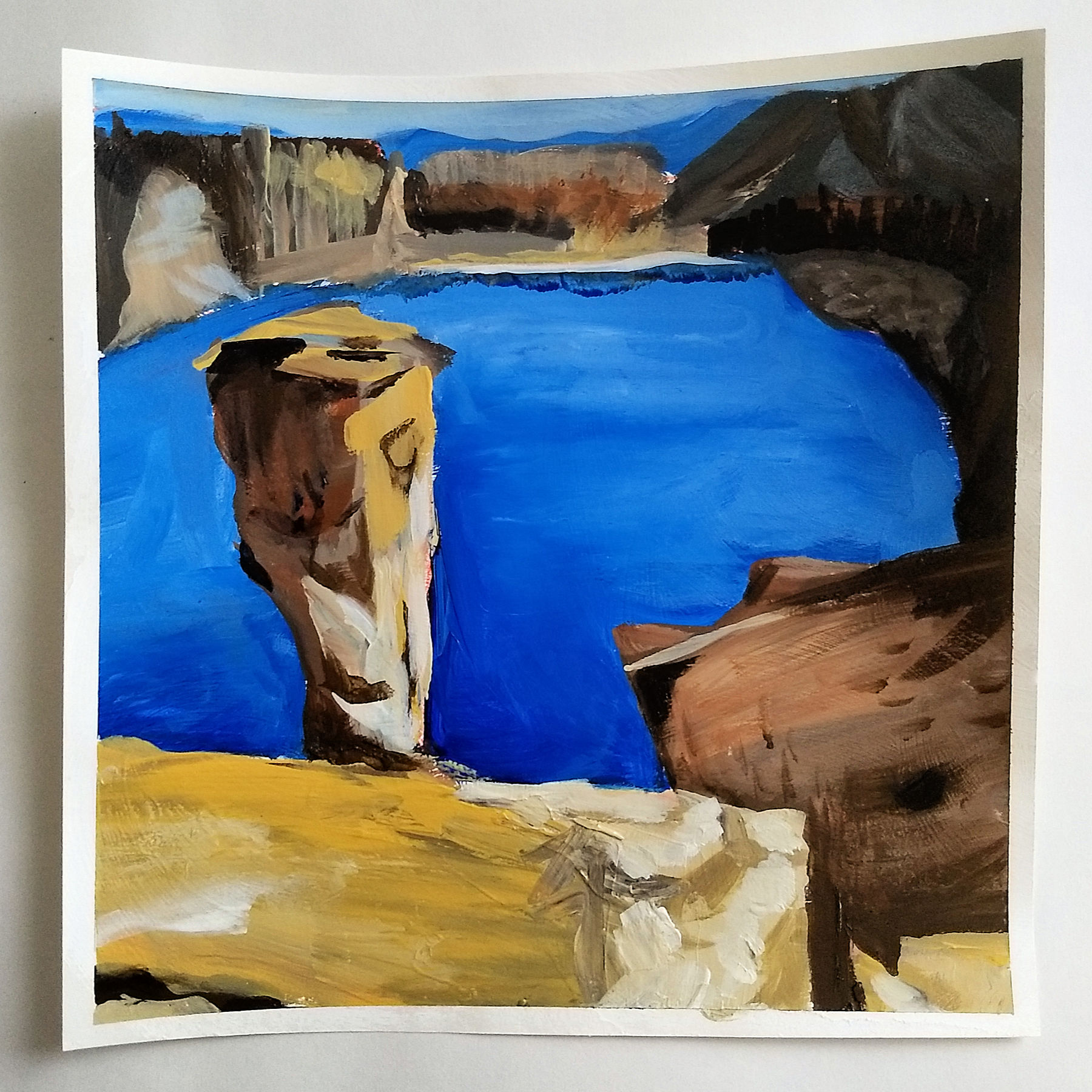 landscape sketch study, acrylic painting on paper, Hali Karla Arts