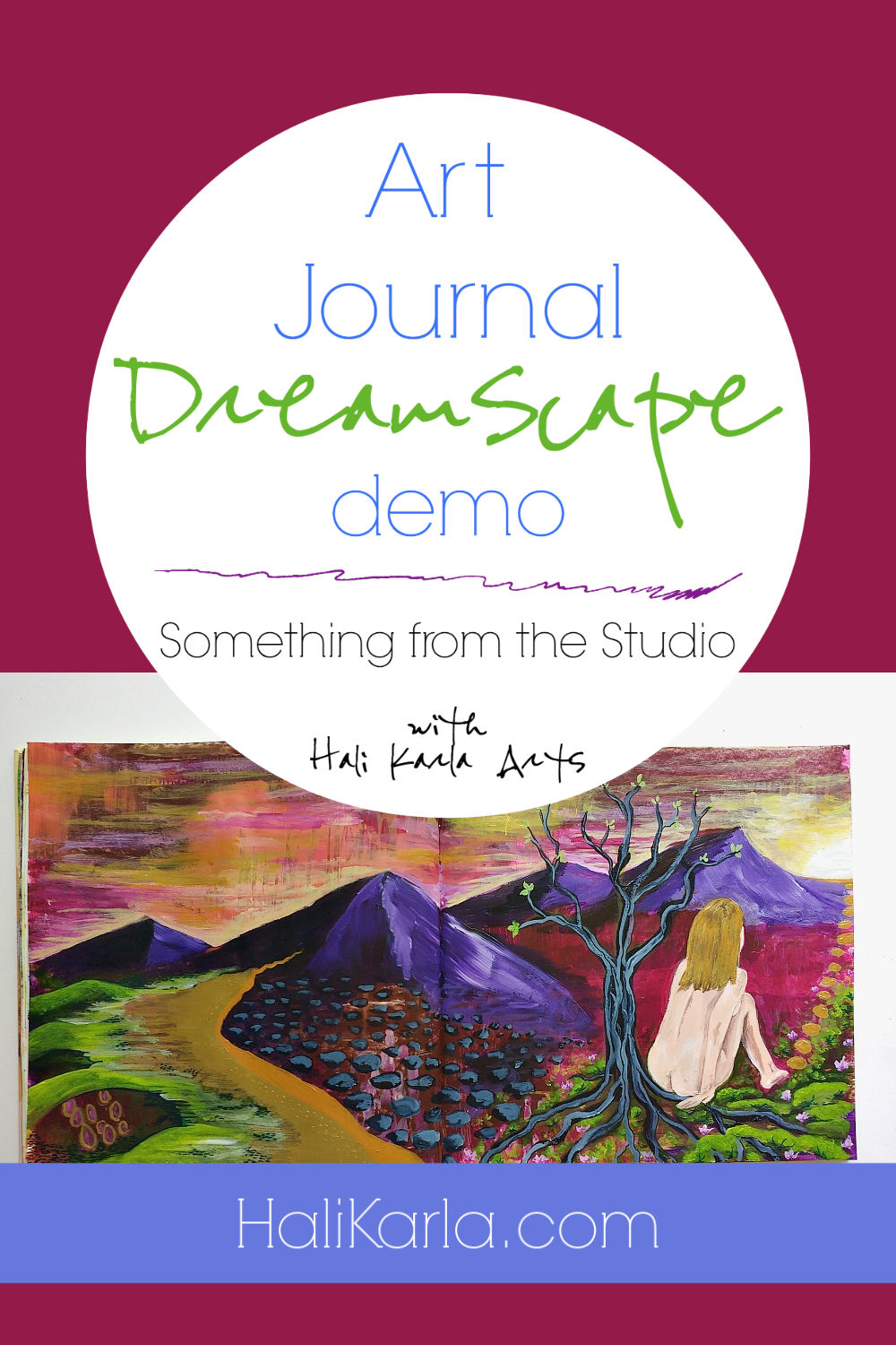 A mixed-media altered book art journal demo video. A dreamscape spread from start to finish with creative process musings. Dreamscapes are a playful, intuitive approach that takes you somewhere unplanned and usually a bit mysterious or magical.