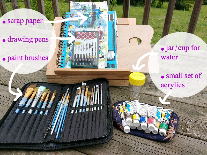 some of the art supplies I might bring when I take my Creative Practice outside (more in post at Hali Karla Arts)