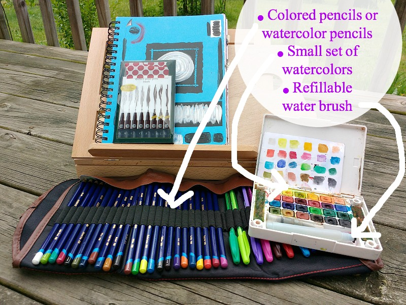 some favorite art supplies to bring when taking Creative Practice outside (more on post at Hali Karla Arts)
