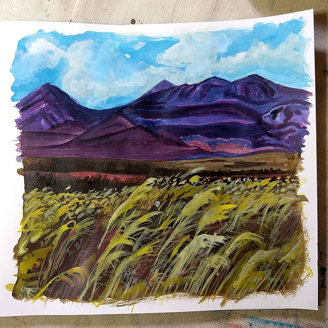 landscape study, mixed-media art journal sketchbook, Hali Karla