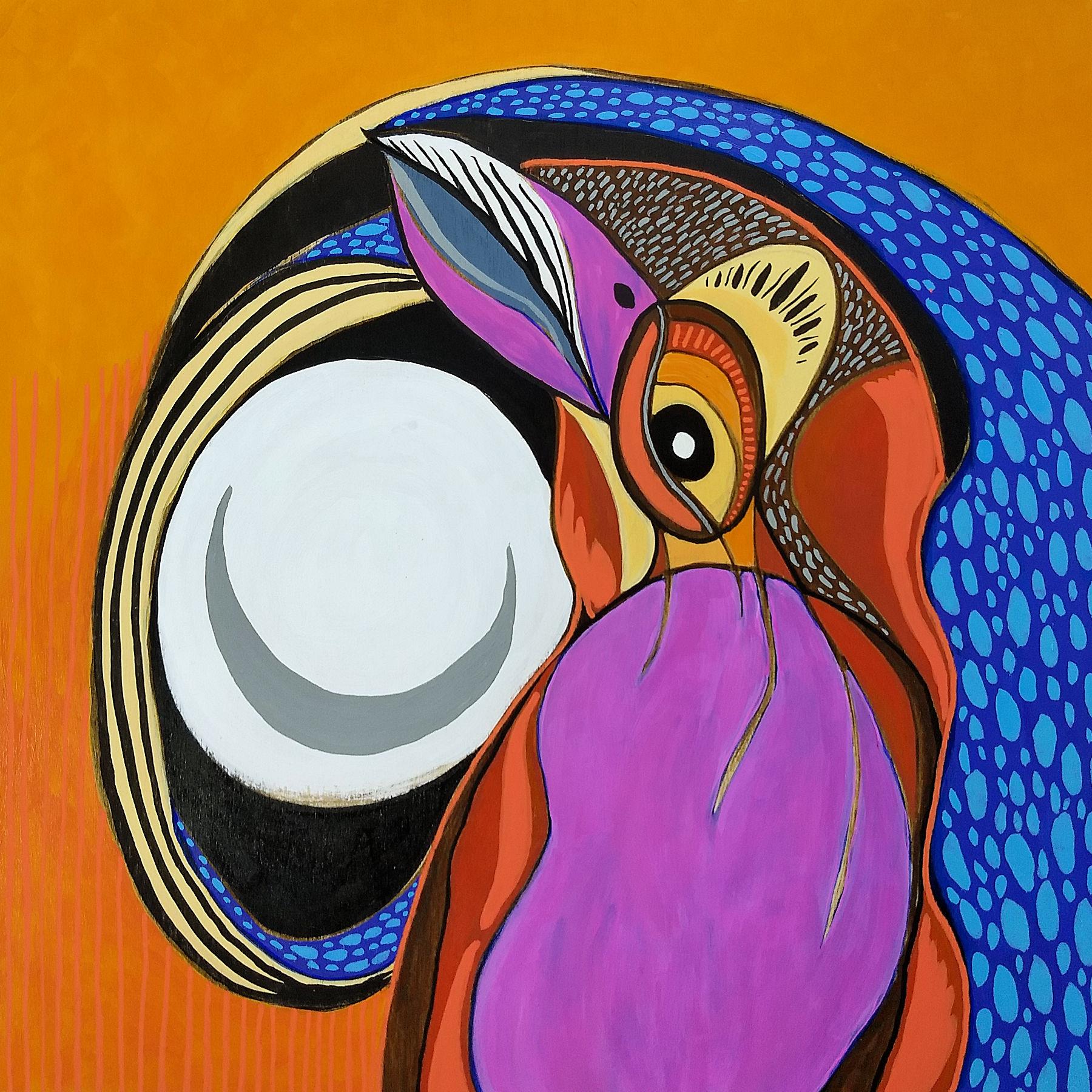 "acrylic and ink spirit painting on wood panel, 12""x12"" | Hali Karla Arts"