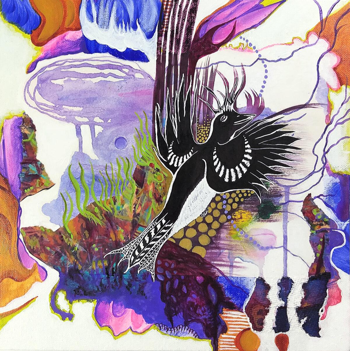 Spirit Bird, mixed-media on canvas panel, Hali Karla