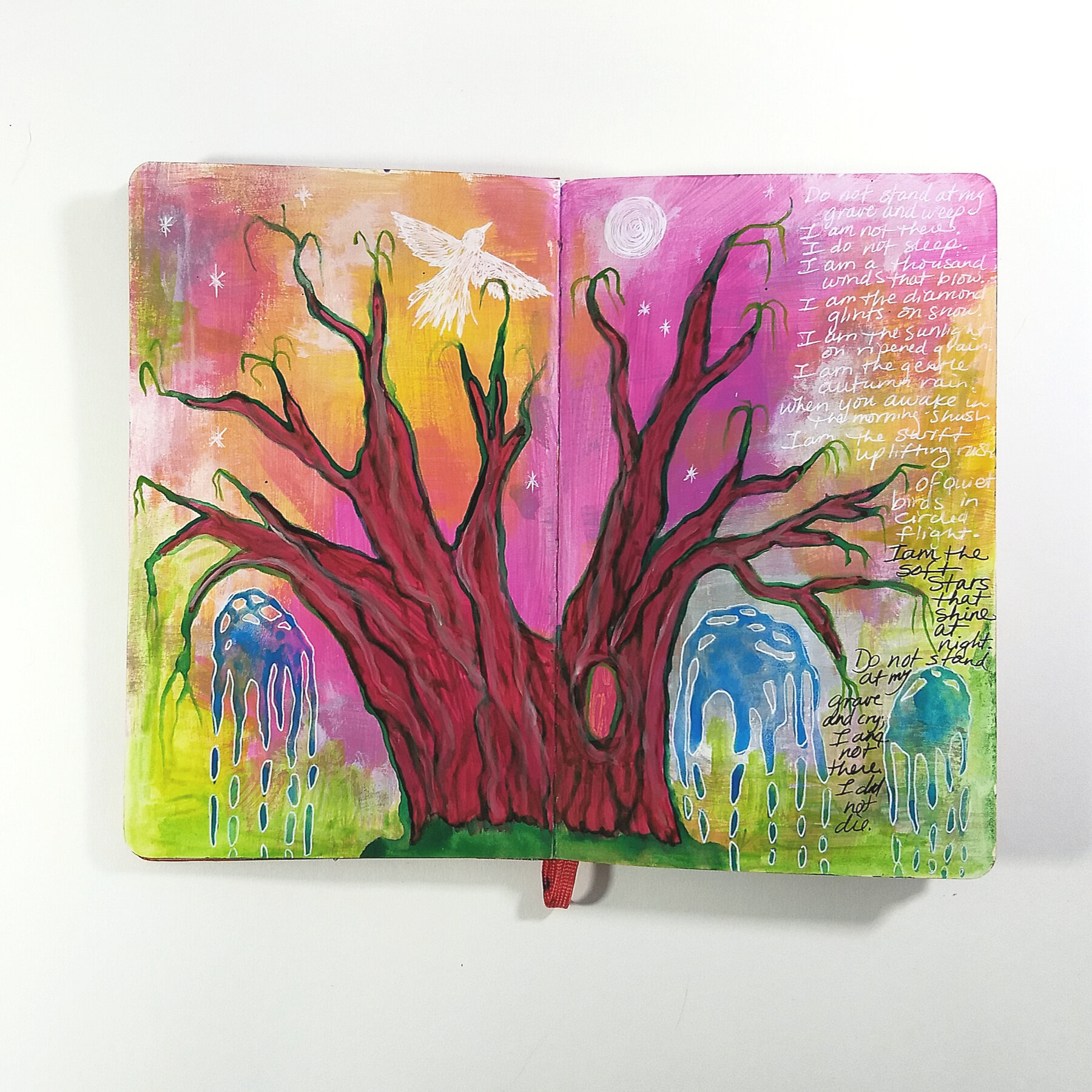 art journal page, holiday grief, how to keep a creative practice during the holidays with Hali Karla