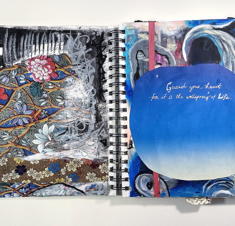 Guard your heart art journal mixed media creative practice page | Hali Karla Arts