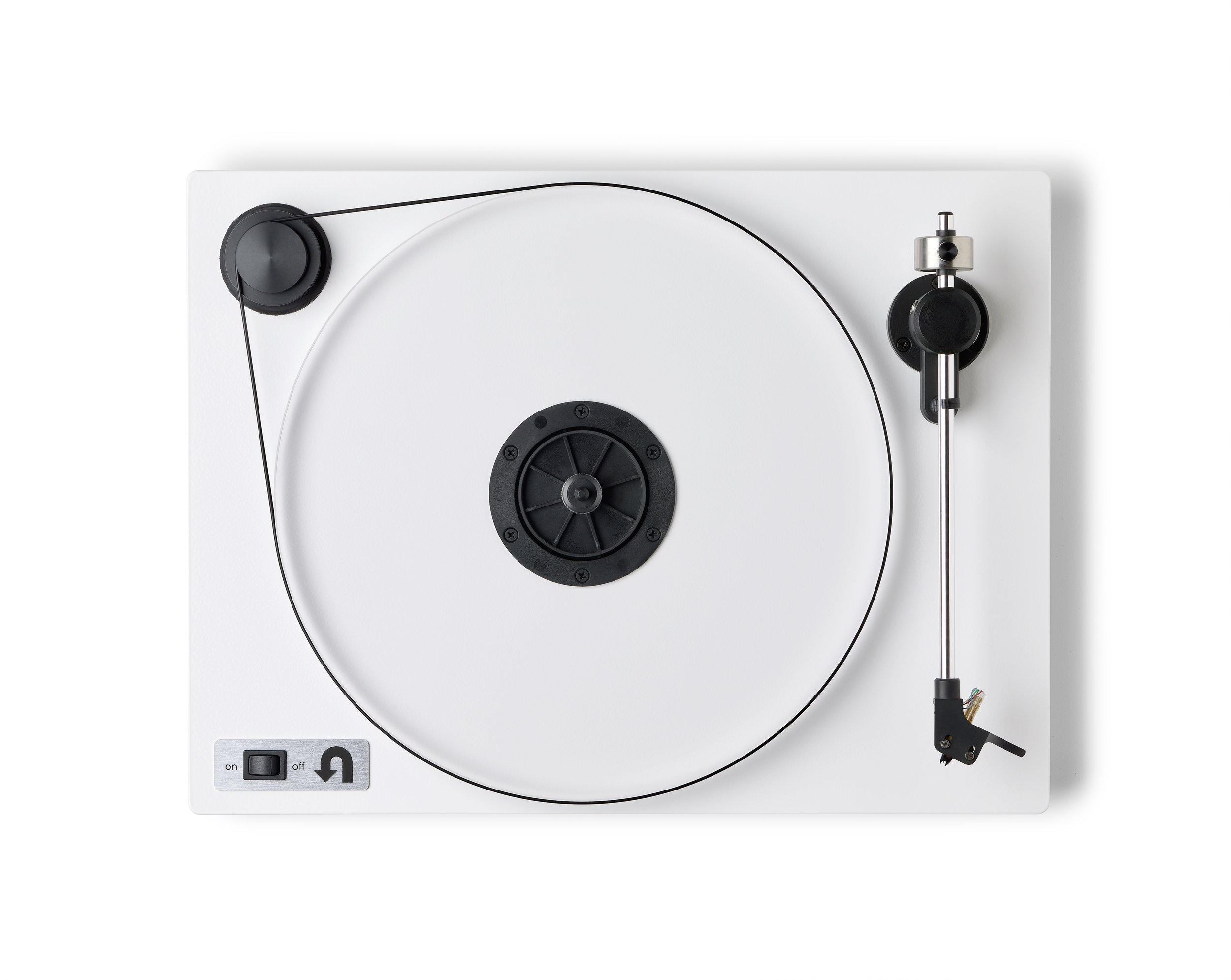 ORBIT PLUS - WHITE ACRYLIC PLATTER ORTOFON OM5E CARTRIDGE DUST COVER w/amp $359 wo/amp 309