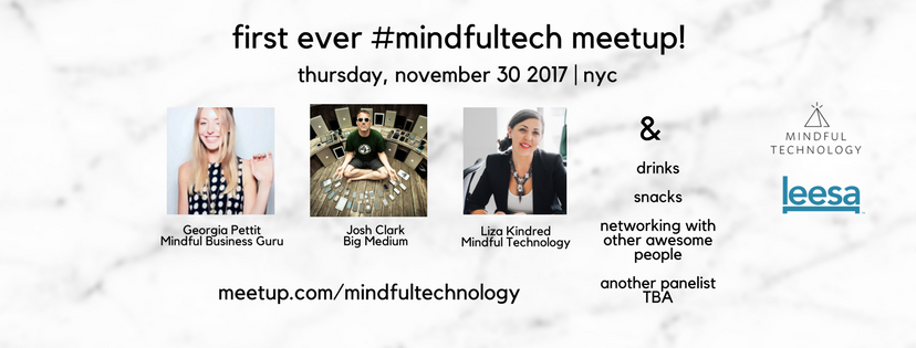 A banner about the #mindfultech meetup including the date, speakers and sponsors.