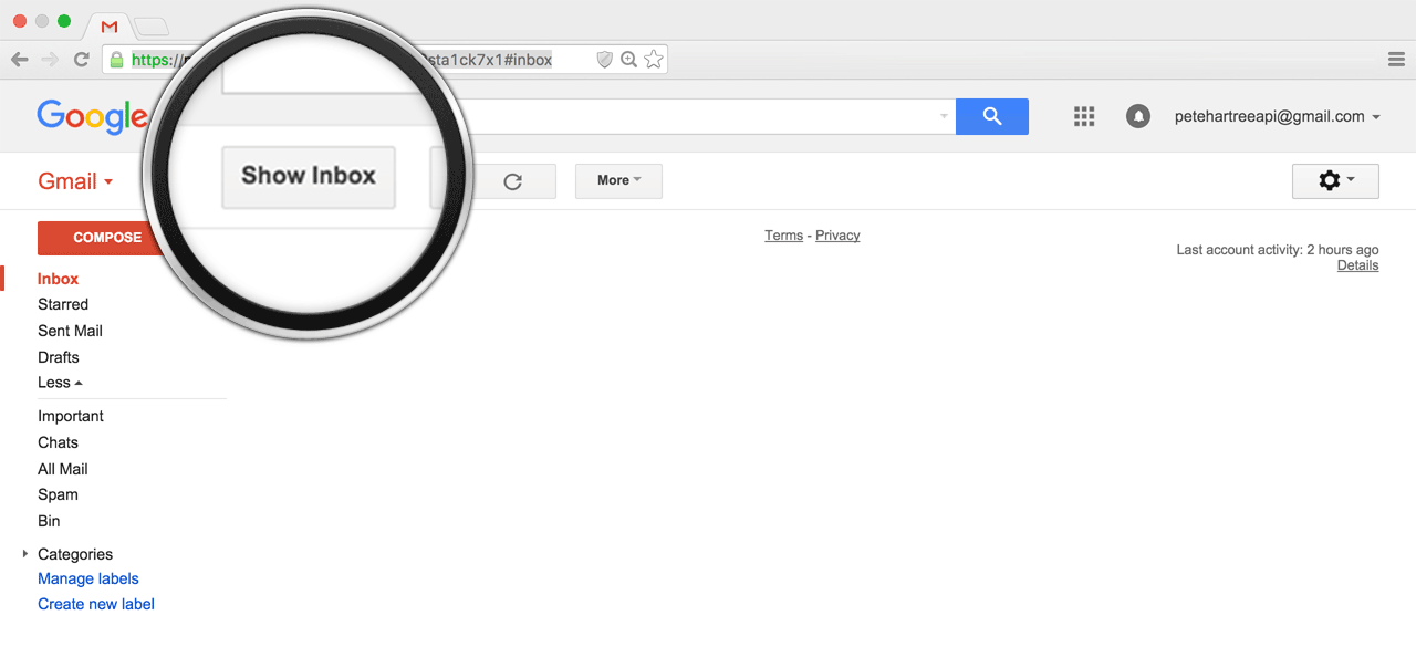"A screenshot of a Gmail Inbox with a circle around a button that says, ""Show Inbox."" No emails are visible."