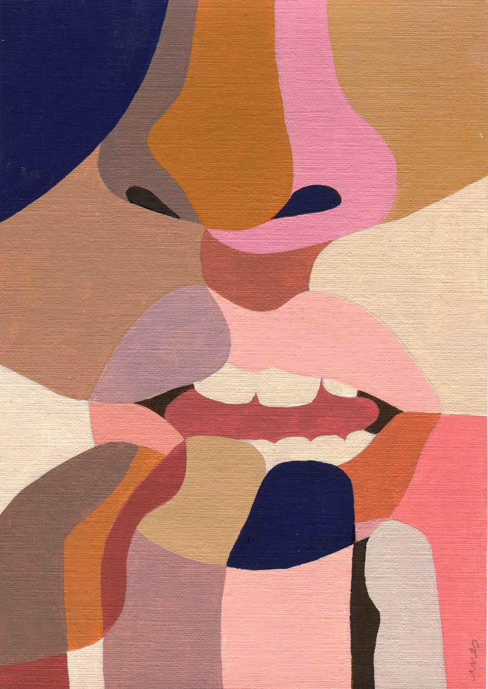 A painting of an up close person's face who is biting their nails.