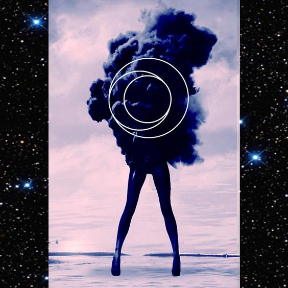A collage photo of a woman wearing high heals standing in the middle of a small dark cloud of smoke. This photo overlaps a photo of a night sky with many stars.